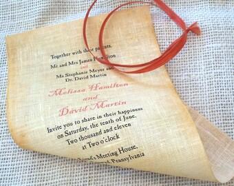 Wedding invitations rolled up, rolled wedding invites, beach wedding, rustic rolled invitation, linen fabric invitation {10}