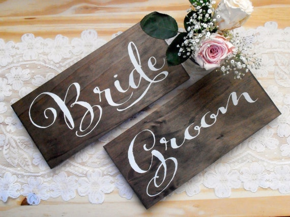 Rustic Wedding Gifts For Bride And Groom : Bride and Groom Rustic Wedding Wood Sign Chair signs