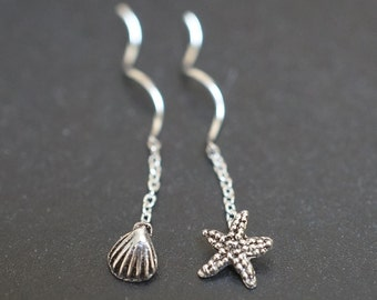 SALE - High Quality Sweet and Simple Solid 925 Sterling Silver Little Sea Shell Star Fish Earrings - 1 pair