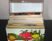 Vintage Metal Recipe Box with old Recipes