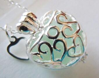 Sea Foam Sea Glass Locket Necklace Beach Glass Filigree Heart Locket Seaglass Jewelry