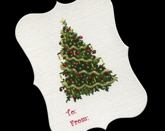 60 Christmas Gift Tags - To And From Tags - Christmas Tags - Favor Tags - Cookie Tags - Bag Tags - Christmas Tree