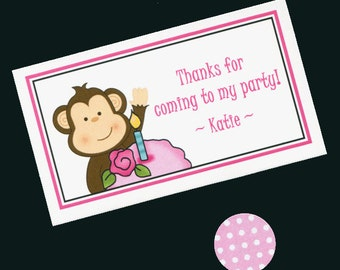 25 Personalized Favor Bags With Candy Stickers - Birthday Party Favor Bags - Goody Bags - Treat Bags - Candy Bag - GIrls Birthday - Monkey