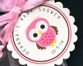 Personalized Baby Girl Baby Shower Favor Tags - Baby Shower Favor Tags - Baby Girl Shower - Favor Tags - Owl Baby Shower - Pink Owl