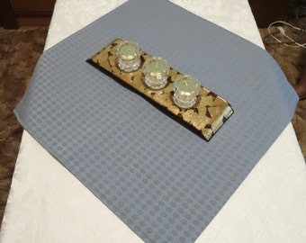 "TABLE RUNNER - Mini Square - Small Table Decor - Medium Blue Diamond Pattern with Mauve & Ivory Mini Dots - 23-1/4"" Square - Item TR328000"