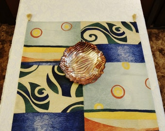"TABLE RUNNER - Mini Square - Small Table Decor - Blue Multi Color Abstract Pattern w/Gold Tassels - 24"" Square - Item TR333400"
