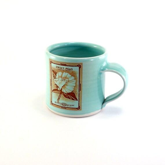 """Sweet Pea Mug - Aquamarine glaze - """"Vintage Seed Packet"""" series"""