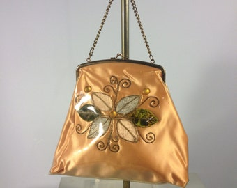 Vintage 50s satin handbag, peach floral applique, peach satin handbag, purse, chain handbag