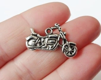 10 Motorcycle Charms (double sided) 24x14mm ITEM:W3