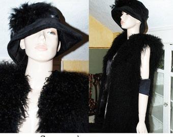 vintage 80s 20s black velvet Gothic mourning hat dark mori Dr Suess floppy victorian flapper oversize marabou feathers runway floppy W US S