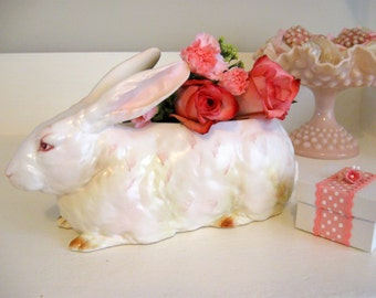 Lefton Bunny Rabbit Planter White Pink Flower Vase Candy Dish Easter