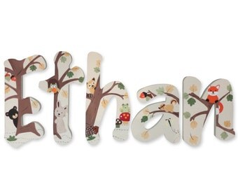 Echo Forest Animals Custom Hand Painted Nursery Letters Nursery Wall Hanging Letters Wood Nursery Letters Name Nursery Decor