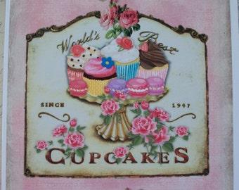 PINK - CupCake Wall Art - Roses - Cupcakes - Scrolls - Set of 2 - Wall Art - Click on ALL photos - CWA 89865