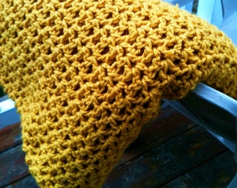 Hand Crocheted Solid Throw Blanket Afghan - Mustard