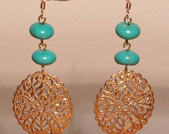 Turquoise, brass filigree earrings.