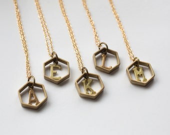 Initial Necklace - Hexagon Necklace - Geometric Initial - Monogram Necklace - Letter Necklace - Personalized Necklace - Alphabet Jewelry