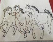 Hand Embroidered Three Horses Tea Towel