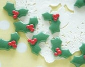 8 pcs Christmas Theme / Holly Cabochon (14mm21mm) DR460
