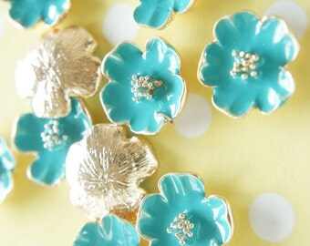 SALE 4 pcs Metal Poppy Flower Motif Cabochon (20mm) Bluegreen AZ104 (((LAST/ no restock)))
