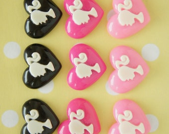 SALE 9 pcs Pony Tail Girl Heart Cabochon (20mm25mm) DR198