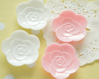 SALE 4 pcs Rose Plate Cabochon (36mm)   DR392