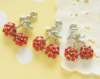 Clearance SALE 1 pc Gorgeous Red Cherry  Charm  AZ117 Silver / A class rhinestones used (((LAST/no restock)))