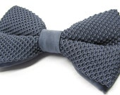 Mens Knitted Bowties. Gray Men's Knit Bow Tie