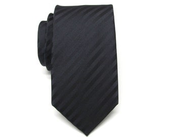 Mens Tie.  Skinny Tie. Black Stripes Men's Skinny Tie