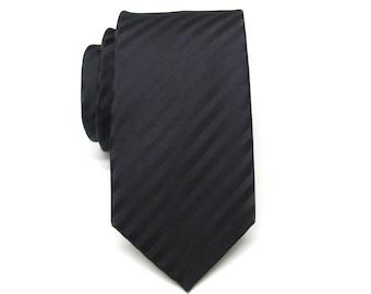 Mens Tie.  Skinny Tie. Black Stripes Men's Skinny Tie