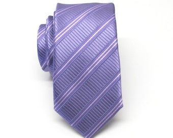 Mens Tie.  Skinny Tie. Lavender and White Stripes Men's Skinny Tie