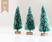"3 Petite Bottle Brush Frosted Sisal Trees 3"" Christmas Holiday DIY"
