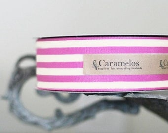 "1 1/2"" wide Magenta Pink and Cream ribbon 3 yards"
