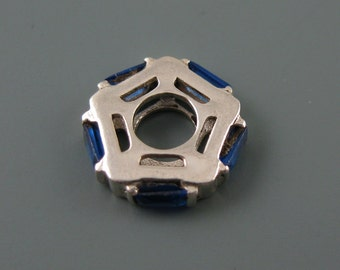 European Charm, Bead, Spacer -.925 Sterling Silver CZ Blue Pentagon Charm Beads SKU: 220054
