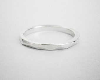 faceted sterling silver ring II