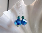 Blue and Emerald Green Crystal Dangling Earrings - Vintage Crystal Beads and Sterling Silver Chain