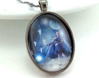 Moonlight Fairy Necklace - Blue Fairy Jewelry - Fantasy Fairy - Blue Fantasy Jewelry - Gothic Necklace - Gothic Jewelry - Fairy Artwork