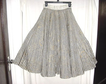 Vintage 50s Black White Gold Stripe Print Circle Skirt Handmade Sm Doppler Effect