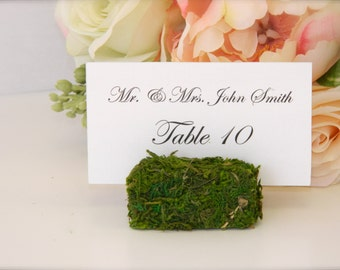 Moss Place Card Holder - Rustic Chic Wedding Moss Place Card Holders- Set of 100