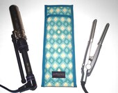 Flat Iron Case/Curling Iron Travel Cover, Mod Ikat, Teal