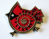 Felt and zipper Cardinal brooch