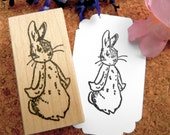 Peter Rabbit Beatrix Potter Rubber Stamp/New Baby/Baby Shower Rubber Stamp// Sz Lg - Handmade by BlossomStamps