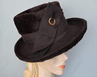 Vintage Brown Hat, Plush Wool by Doris Designed, Fedora Style with Ribbon Decor, Velour Hat