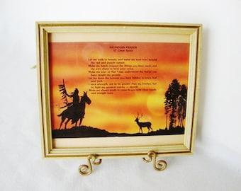 vintage native american indian prayer framed postcard sunset scene