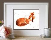 Funny art, kids room art, New Mommy Gifts, fox, nursery animal art, uk, uk shop