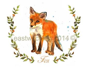 WOODLAND FOX  Print, woodland nursery art