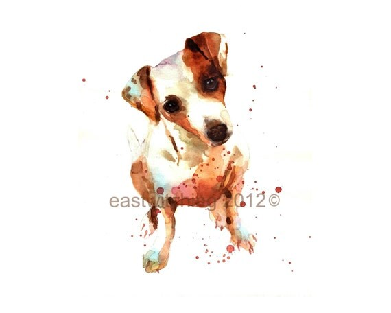WATERCOLOR Jack Russell, Print 8x10, puppy art, watercolor puppy, dog lover gift, watercolour paintings