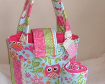 Medium Girly Owl Chevron and Stripes Diaper Bag Set with Changing Mat
