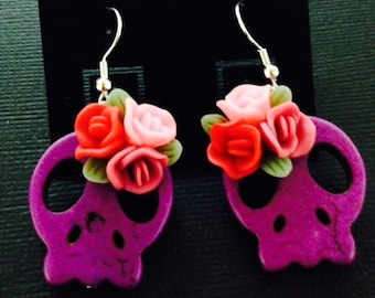 Rockabilly Day of the Dead Purple Earrings with Bright Flowers
