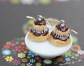 Religieuse Earrings - French Pastry Food Jewelry from Paris - Chocolate, Raspberry, Lemon, Blueberry