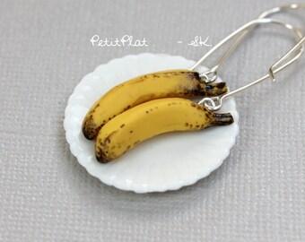 Banana Earrings, Miniature Fruit & Veggies Food Jewelry - Healthy Collection